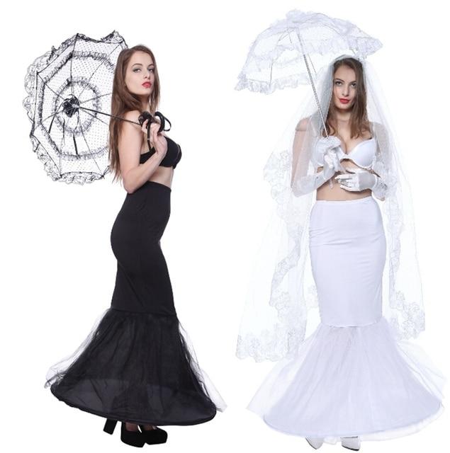 Moda Sirena Enaguas Blancas 1 Aro Crinolina Enagua Negro Negro Boda Crinolina Falda En Stock Sottogonna Onderrok