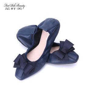 Image 1 - מותג מעצב Bowknot קונוס נעלי אישה שטוחה נעלי אלגנטי נוח ליידי אופנה כיכר ראש נשים סופר רך בלט דירות