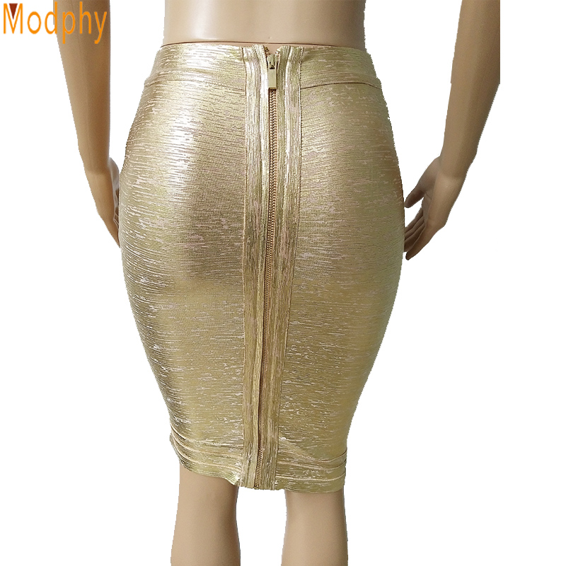 2018 new heat elegant women bandage skirt gold foil bodycon sexy celebrity seal fashion drop shipping party club skirt MD410