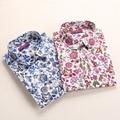 2016 Nueva Llegada de Algodón de Las Mujeres camiseta de Manga Larga Blusas de Impresión Turn-down Collar Top de Las Mujeres Más Tamaño Respirable Tapas de las señoras