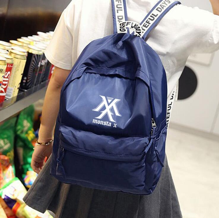 New kpop MONSTA X group The Same canvas Student bag backpack three colors are available