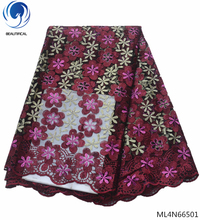 BEAUTIFICAL rose red african net lace fabric purple flower style stones 2019 latest french nigerian laces ML4N665
