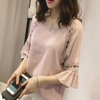 Women Blouse Shirt 2017 New Fashion Summer Chiffon Blouses Lace Hollow Shirts Flare Sleeve Tops Office