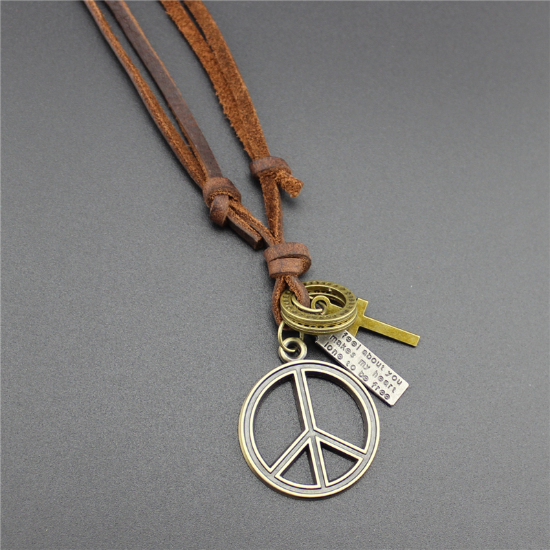 Summer style mens necklace leather jewelry bronze pacifist world summer style mens necklace leather jewelry bronze pacifist world peace pendant fashion hot sale long necklace for women in pendant necklaces from jewelry aloadofball Choice Image