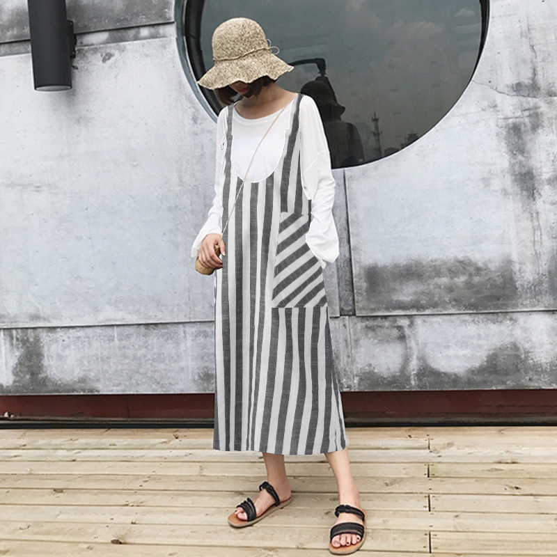Fashion ZANZEA Women Sleeveless Summer Striped Strappy Pockets Casual Dungarees Loose Party Suspenders Dress Vestido Plus Size