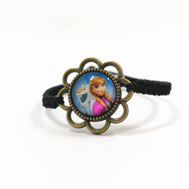 Girls Gifts Vintage Jewelry Bracelet Anna Elsa Kristoff Olaf Sven Hans froze Princess Braided Bracelets Cord Woven Glass Stone