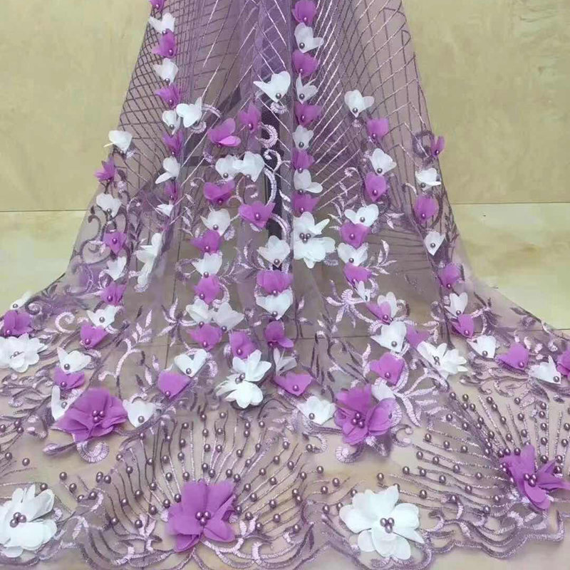 The new African lace fabric quality luxury 3 d embroidery voile lace flower design with beautiful beadsThe new African lace fabric quality luxury 3 d embroidery voile lace flower design with beautiful beads