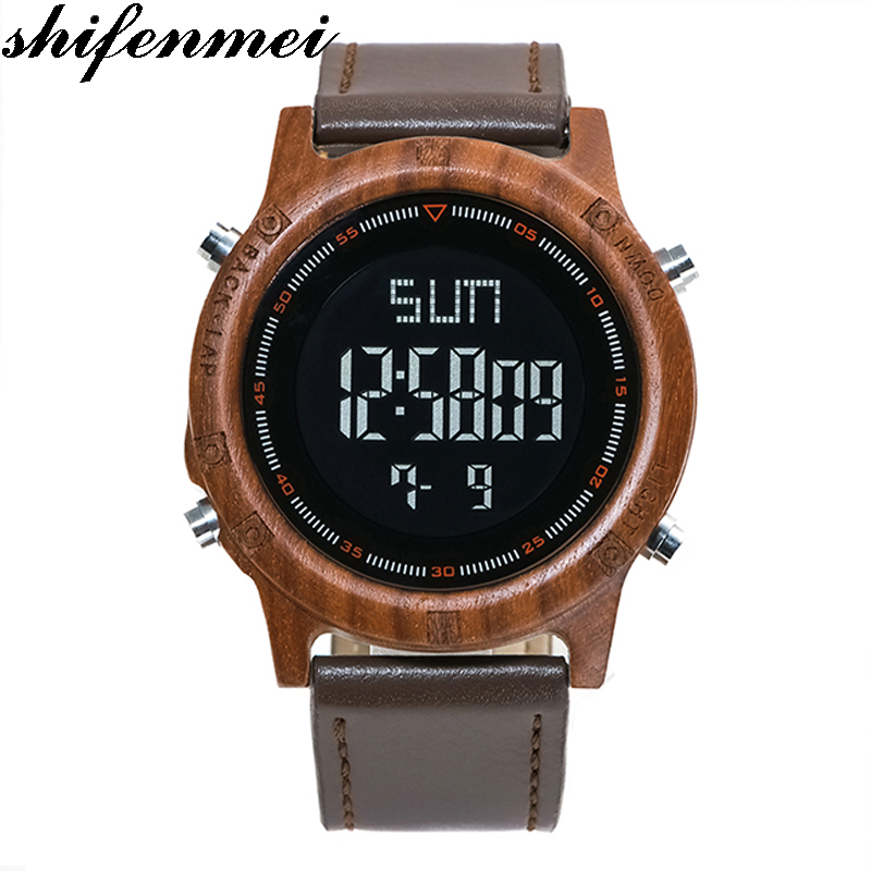 Shifenmei 5531 design Men Watch With Ebony Wood Face With Zebra Wood Leather band Strap Japanese movement shifenmei wood watches