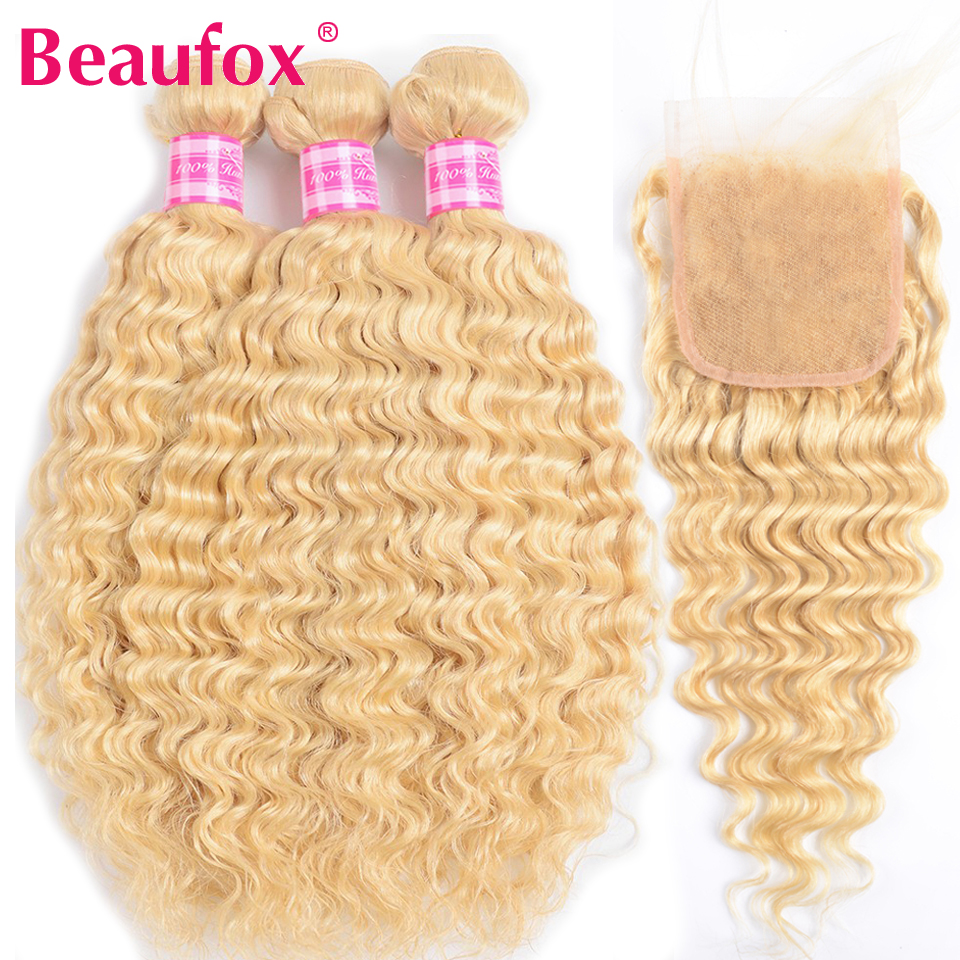 Beaufox Blonde Bundles With Closure Indian Hair Deep Wave Bundles With Closure Remy 613 Blonde Human Hair Bundles With Closure