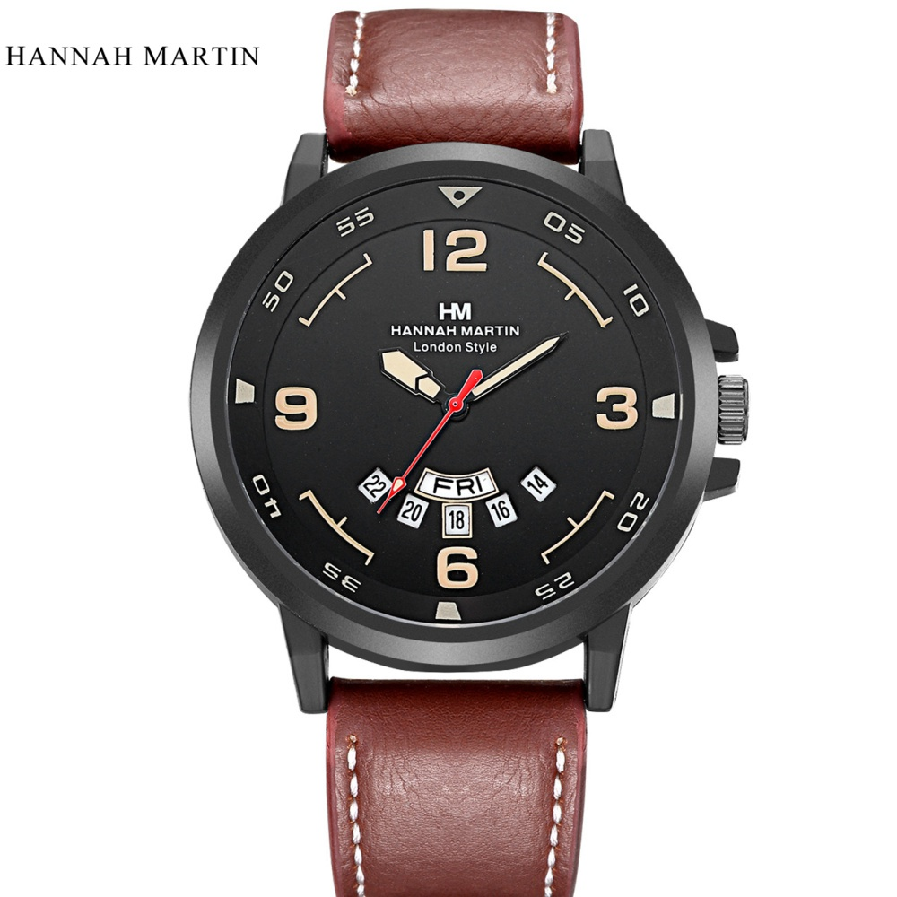 Hannah Martin Top Brand Watch Men Watch Auto Date Week Fashion Men's Watch Waterproof Watches relogio masculino reloj hombre hannah martin men s sport watches top brand wrist watch men watch fashion military men s watch clock kol saati relogio masculino