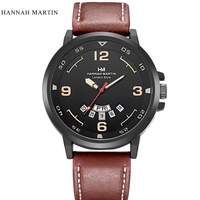 Hannah Martin Top Brand Watch Men Watch Auto Date Week Fashion Watches Leather Waterproof Watches Relogio