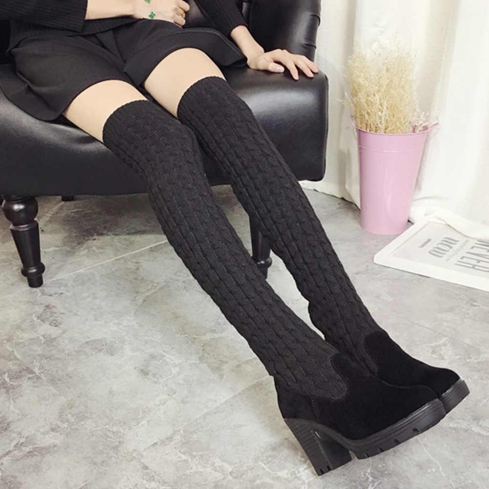 2018 แฟชั่นถักผู้หญิงกว่าเข่ารองเท้า Elastic Slim ฤดูหนาว Warm รองเท้าบูทรองเท้าส้นสูงสำหรับผู้หญิง