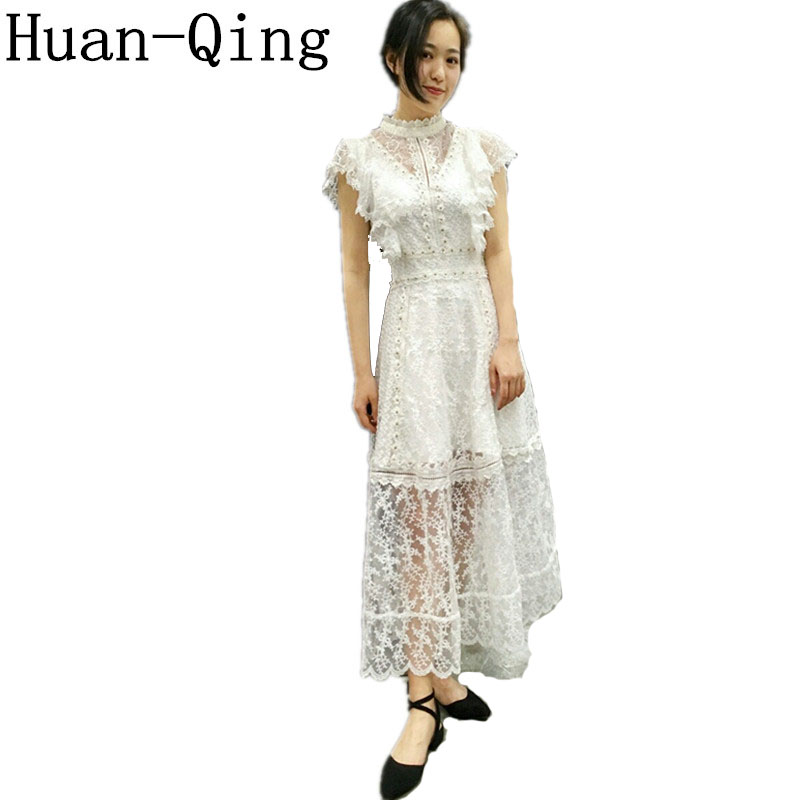Women High Quality Sexy Lace Crochet Ruffles White Long Dress Summer Ladies Sleeveless Hollow Out Party