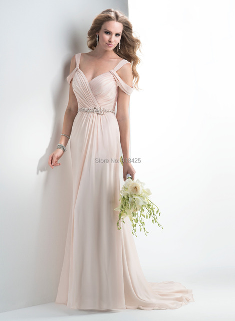 New Style Beach Open Back Chiffon Wedding Dress Casual Bridal Gown Beading Sash Mg113