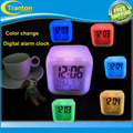 Venda quente alarme de Incandescência LED color change digital relógio + termômetro + calendário