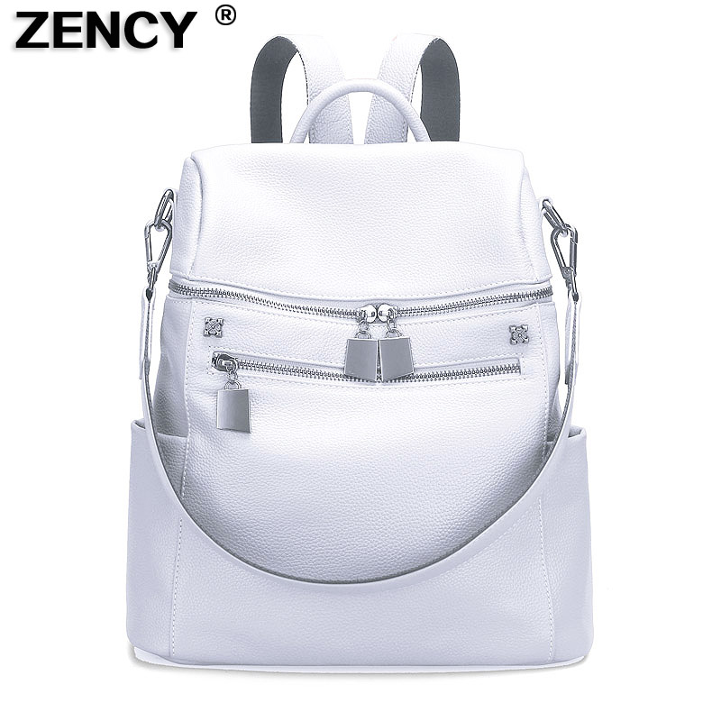 ZENCY 100% Real Genuine Cowhide Leather Women's Backpacks Designer Female Girl Lady Backpack Cowhide White Silver Gray Book  Bag-in Backpacks from Luggage & Bags    1