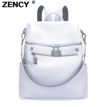 ZENCY 100% Real Genuine Cowhide Leather Women's Backpacks Designer Female Girl Lady Backpack Cowhide White Silver Gray Book  Bag - DISCOUNT ITEM  55% OFF All Category