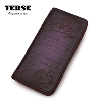 TERSE_New Men's Long Wallet 100% Handmade Genuine Leather Luxury Purse For Male 7 Colors Engraving DIY Logo Zipper 545