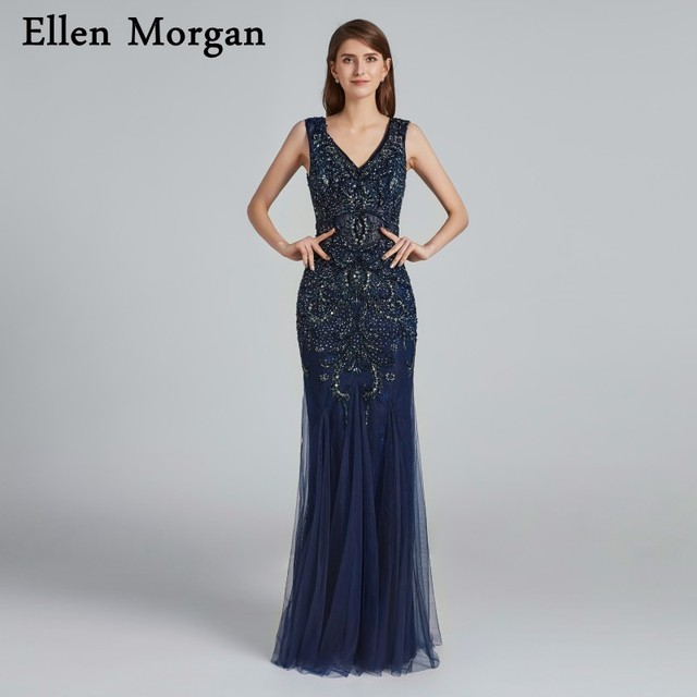 Sexy Sparkling Navy Blue Mermaid Prom Dresses 2019 for Women Runway Black Girls Beaded Tulle Fashion Backless Formal Party Gowns