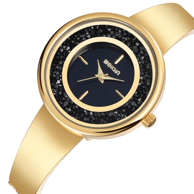 WEIQIN Gold Luxury Women's Bracelet Watches Fashion Style Woman Dress Watch Elegant Quartz Clock Ladies relogio feminino weiqin luxury crystal diamond gold bracelet watches women ladies fashion bangle dress watch woman clock hour relogio feminino