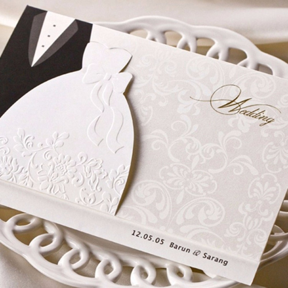 Us 42 99 50pcs Laser Cut Wedding Invitations Card Blank Black White Groom Bridal Tuxedo Dress Invitation Marriage With Envelopes In Cards