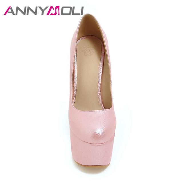 6ef0f010ec ANNYMOLI Women Pumps Extreme High Heels Platform Wedding Shoes ...