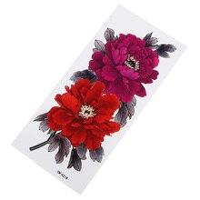 Водостойкие наклейки для татуировки с красными и розовыми цветами, прочные женские элегантные наклейки на грудь с цветами, вечерние тонкие татуировки