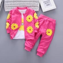 Bibicola baby girls clothing sets fashion kids girl t-shirt + coat +pant 3pcs sets children casual sport suits girl clothes suit цена