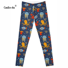 Leggings 2016 New Brand  Colorful octopus 3D Print Women Black High Waist Pants Wear Super Soft hot sale