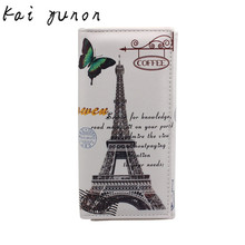 2017 Hot Sale New Fashion Women Leather Wallet Long Style Design Purse Clutch Wallet Printing Bag Card Case Butterfly Iron Tower