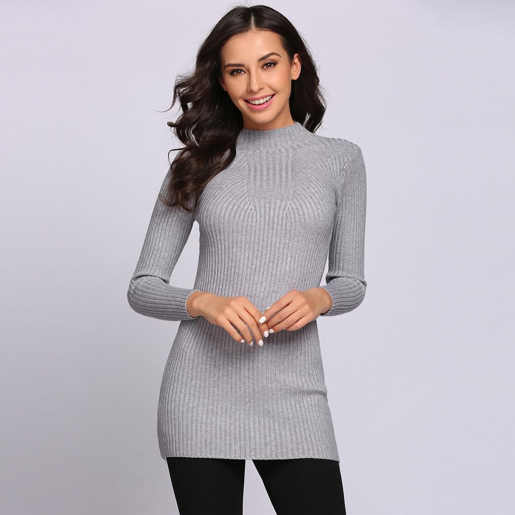Christmas Sweater Women Pullover Top Autumn Winter Knitted Poncho Full Sleeve Round Neck Casual Slim Solid Womens Sweaters 2018