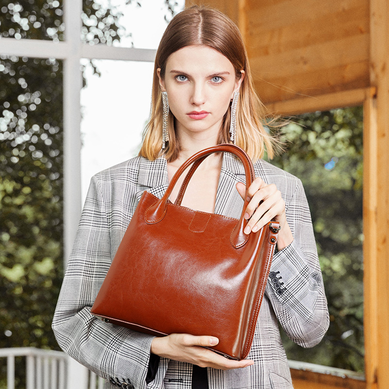 women's bag female genuine leather Fashion Oil Wax Real Cow Leather women bag Women Leather Handbags Casual Brown Bucket bags-in Top-Handle Bags from Luggage & Bags    1