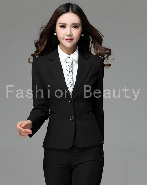 New 2015 Autumn Winter Formal Pantsuits For Ladies Office Work Wear Set  Tops And Pants Beautician fcc6e31bc