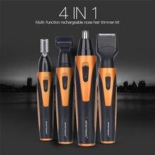 4in1 elektrikli tıraş makinesi erkekler tımar kiti USB şarj edilebilir burun saç düzeltici sakal tıraş bıçağı Sideburns kaş kulak saç düzeltici