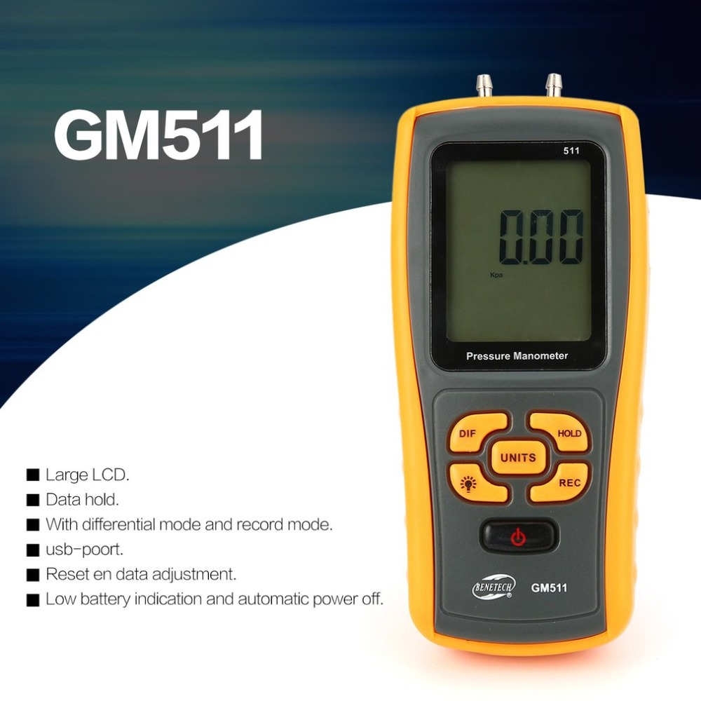 High precision digital pressure gauge GM511 micro-pressure gauge differential pressure manometer air pressure gauge цена