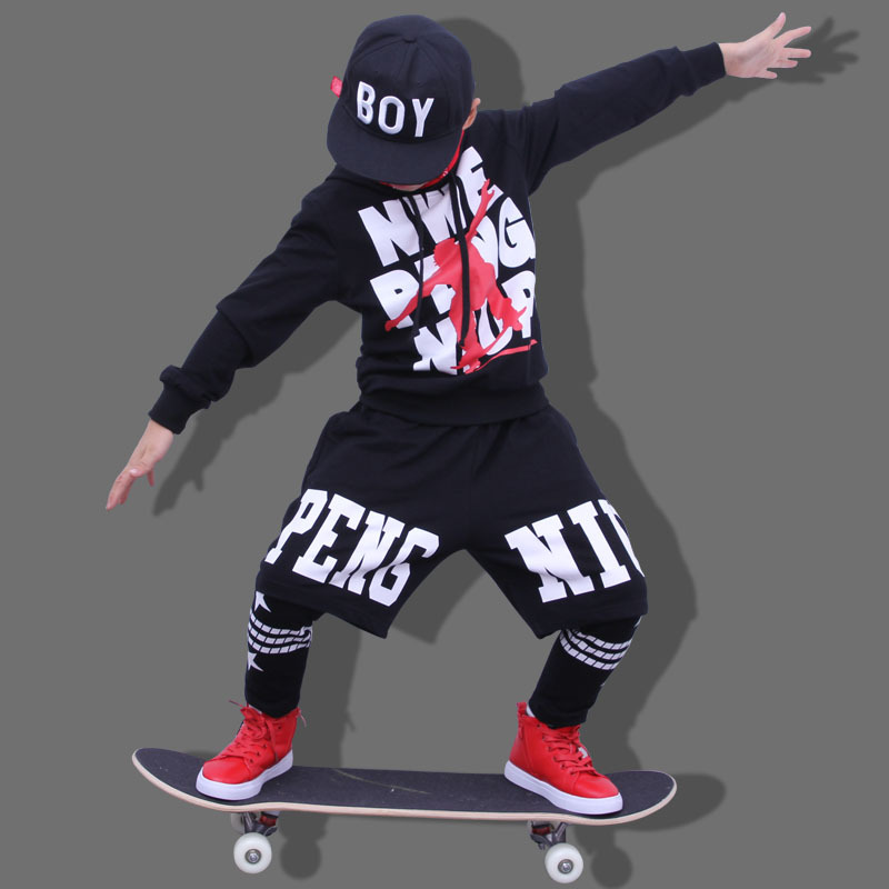 Fashion Spring Autumn Children's Clothing Set Black Costumes Kids Sport Suits Patchwork Hip Hop Dance Pant & Sweatshirt wholesale new fashion autumn casual sport suits tracksuits for kids gold chain printing hip hop outwear boys clothing sets