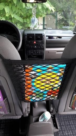 Excellent Luggage Holder Pocket Strong Elastic Car Mesh Net Bag Between Car Organizer Seat Back Storage Bag