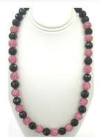 Shamballa Beautiful Two Color Necklace With Alternating Rose Pink Pave Crystal Balls And Faceted Black Onyx