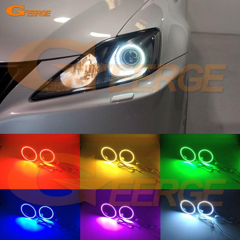 Для Lexus IS220 is250 по is350 для ИС-Ф 2006-2010 отличная глаза Ангела многоцветные Ультра-яркий RGB LED Ангел глаза комплект гало кольца