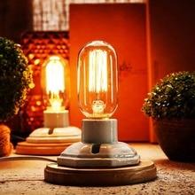 OYGROUP Vintage blanco de cerámica de mesa de madera de Base lámparas con E27 Base (No bombilla Industrial lámpara de escritorio decoración para el hogar
