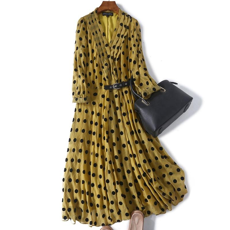 2019 mode femmes haut de gamme 100% robe en soie bleu foncé jaune Sexy col en v taille bande passante lâche robe de plage robe de soirée