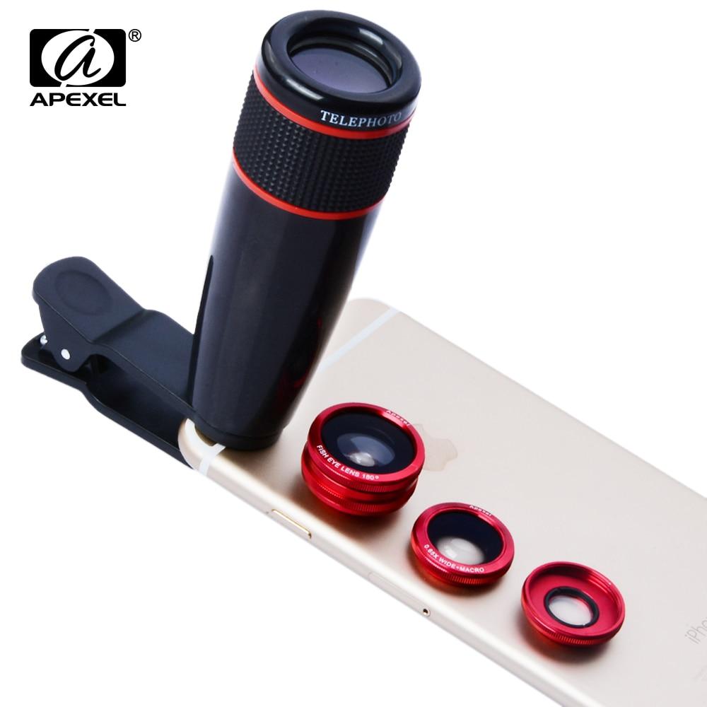 imágenes para Apexel cámara kit de lentes para iphone 6 6 s plus-12x Teleobjetivo + Fish Eye + Macro y Lente Gran Angular para smartphones Android 12CX3