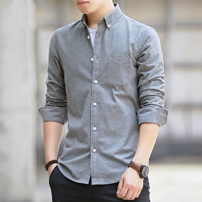 High-quality long-sleeved shirts for men's leisure Korean version of young and middle-aged Oxford white shirts in spring 6
