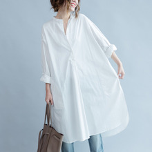 #3016 Spring Cotton Round Neck Tunic Shirt Dress Women White Plus Size Loose Casual Side Split Long Blouses