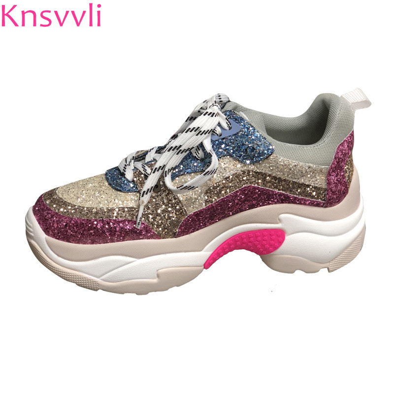 Detail Feedback Questions about Knsvvli platform shoes women 2018 new  fashion genuine leather sneaker sequins mixed color height Increasing casual  shoes ... 65f956c3ce9e