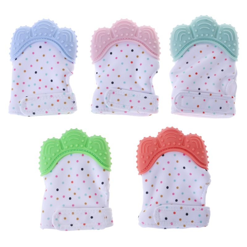 Baby Teether Gloves Squeaky Grind Teeth Oral Care Teething Pain Relief Newborn Bite Chew Sound Toys Adjustable Dec17