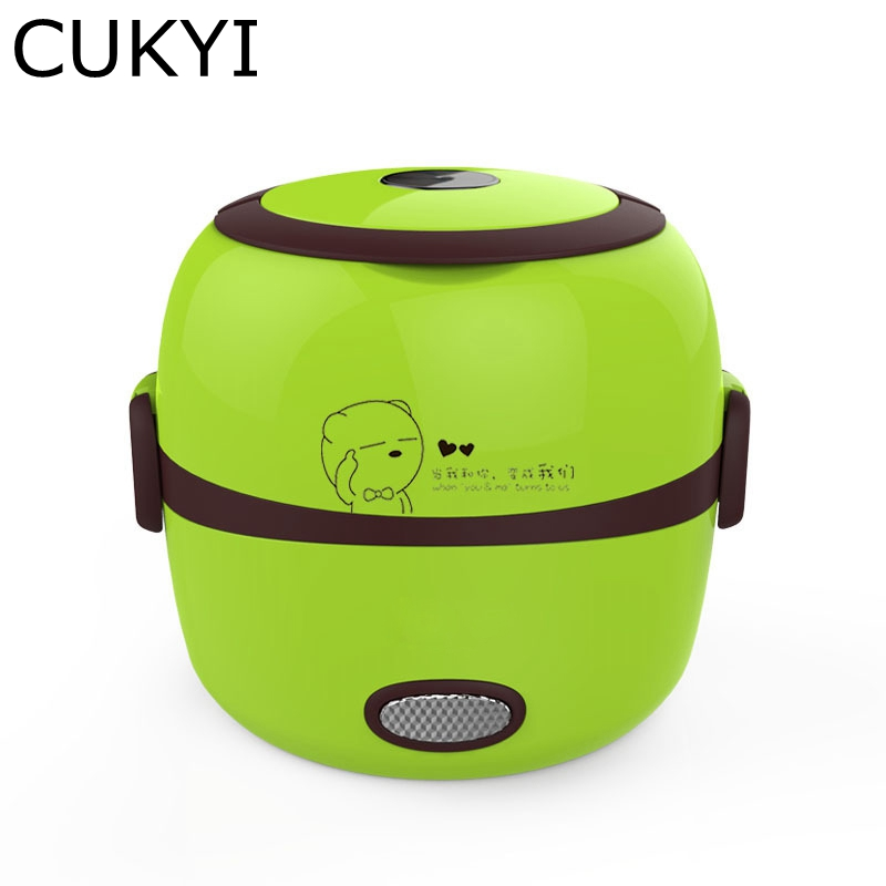 CUKYI 1L Mini Rice Cooker 220V Lunch Box 2 double layers stainless steel  Multi-function Food Warmer egg steamer cooking stainless steel electric double ceramic stove hot plate heater multi cooking cooker appliances for kitchen 220 240v vde plug