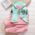 Primavera Otoño Ropa para Niños Juegos de Dibujos Animados Niñas de Manga Larga T-shirt + Vest + Pants 3 UNIDS Bebé Ropa de las muchachas Fijaron 0-5Years