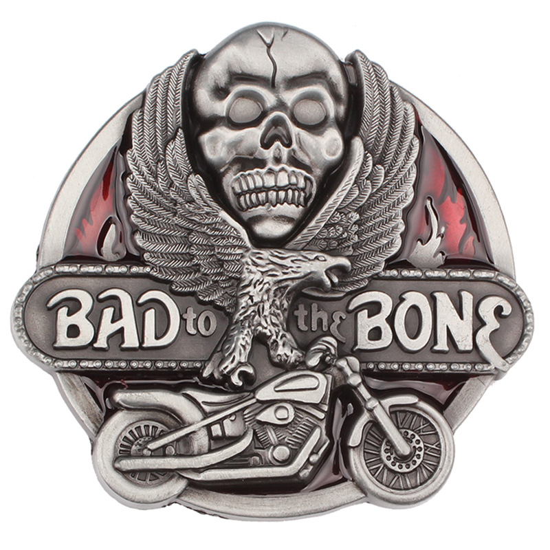 Bad Bone And Eagle Skull Pattern Belt Buckle