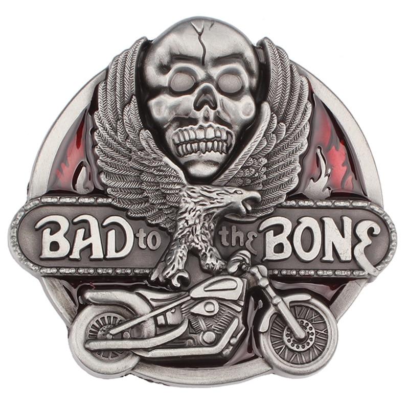 Bad Bone And Eagle Skull Pattern Belt Buckle